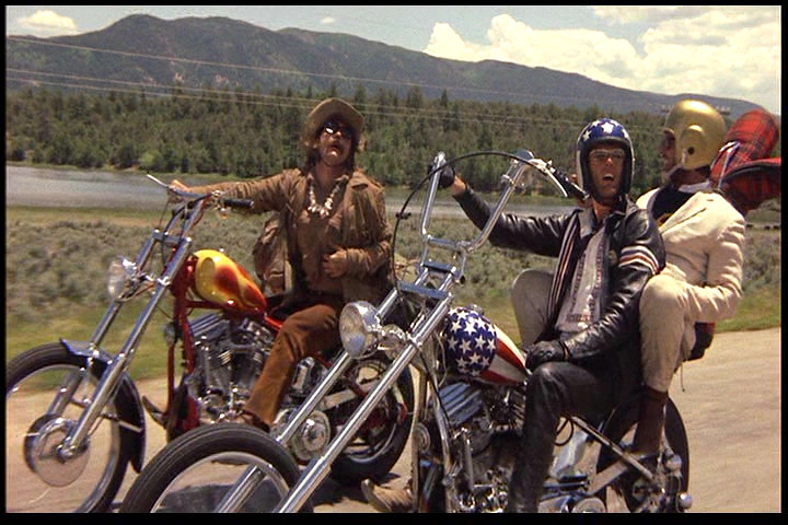 "Billy (right), Captain America (left) and George Hansen set out on the open road together in ""Easy Rider"". Image from Flickr.com"
