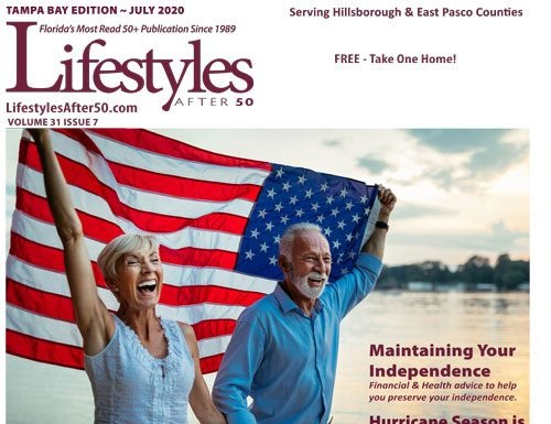 Patriotic picture of woman and man walking on beach waving american flag
