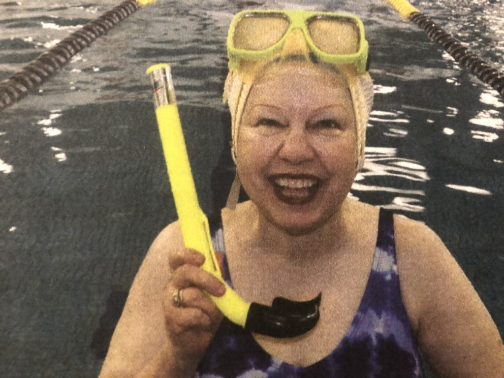 Kathy Megyeri poses with her swimming gear.