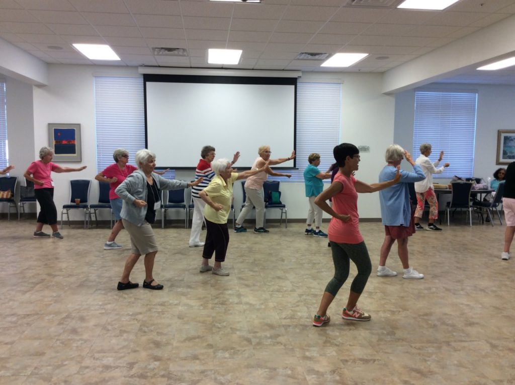 Tai chi is a great, low impact exercise for seniors. It also helps with balance and aiding in maintained independence through physical movement. Image courtesy of Naples Senior Center.