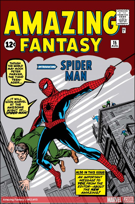 The original cover of Spider-Man's debut in 1962. Image from Marvel.com