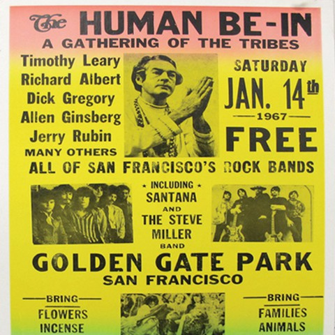 Poster advertisement for the Human Be-In during the Summer of Love. Image from openculture.com