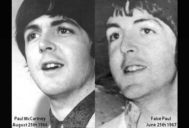 Paul McCartney versus his supposed replacement, William Campbell. Is it aging or a convincing look-alike? Image from paulontheruntour.com