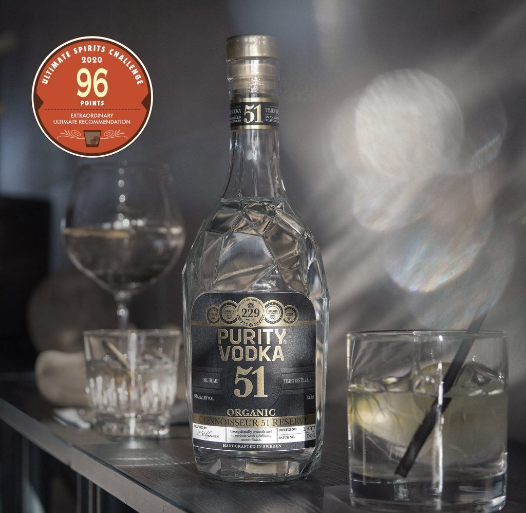 The Organic Purity Connoisseur 51 Reserve Vodka wins Best Tasting Organic Vodka in Florida.