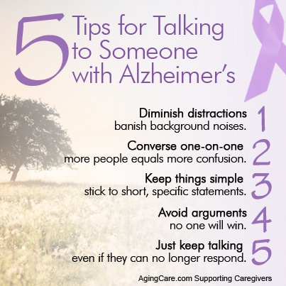 A quick guide to conversations with someone who has Alzheimer's.