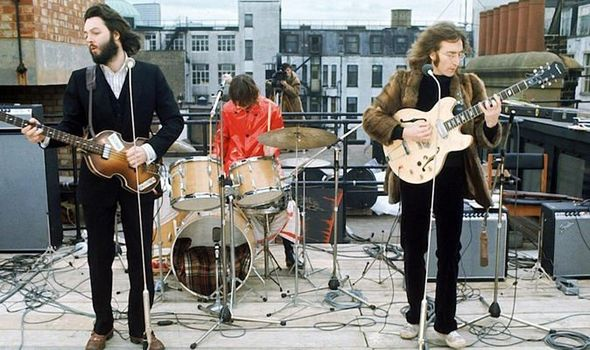 The Beatles at their last performance. Image from The Daily Express.