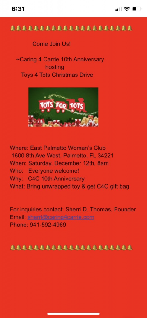 Information from Sherri about how to get involved with the Toys 4 Tots drive.