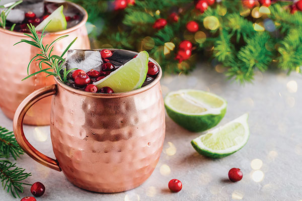 Cranberry Smash Moscow Mules are a perfect before or after dinner drink. The ginger will help with digestion of that deliciously rich holiday meal you just enjoyed.